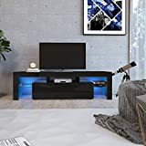 70 black media console - DMAITH TV Stand with LED Lights, 2 Drawers and Open Shelves High Gloss Entertainment Center Media Console Table Storage Desk for Up to 70 Inch TV, Black(003B)