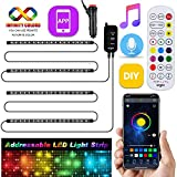 Dreamcolor Car Interior Lights App Control, Airgoo Car LED Strip Light, Upgrade Two-Line Design Waterproof 4pcs 72 LED Car Underdash Lighting Kit, Color Changing with Music, 30 Unique Dynamic Mode