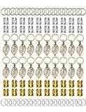 100 pezzi oro e argento capelli anelli alluminio dreadlocks perline oro foglie ciondolo decorazioni metallo polsini treccia gioielli per capelli set clip di capelli accessori per capelli