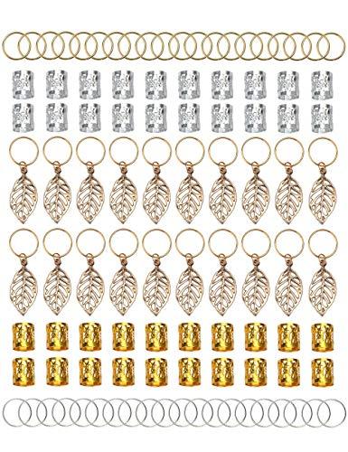 100 stücke Gold & Silber Haar Ringe Aluminium Dreadlocks Perlen Gold Blätter Anhänger Dekorationen Metall Manschetten Braid Schmuck für Haar Set Haarspange Haarschmuck