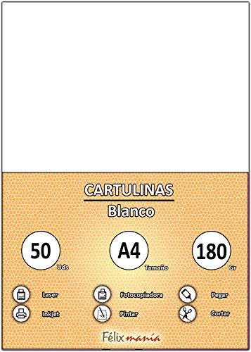 Cartulinas A4 Blancas 180G Marca FELIXMANIA