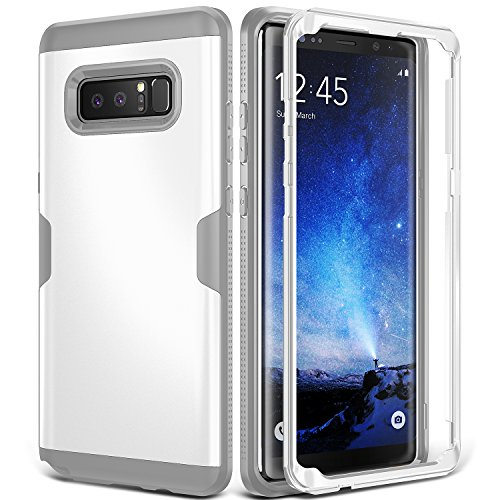 YOUMAKER Galaxy Note 8 Case, Full Body Heavy Duty Protection Shockproof Slim Fit Case Cover for Samsung Galaxy Note 8 (2017 Release) Without Built-in Screen Protector (White/Gray)