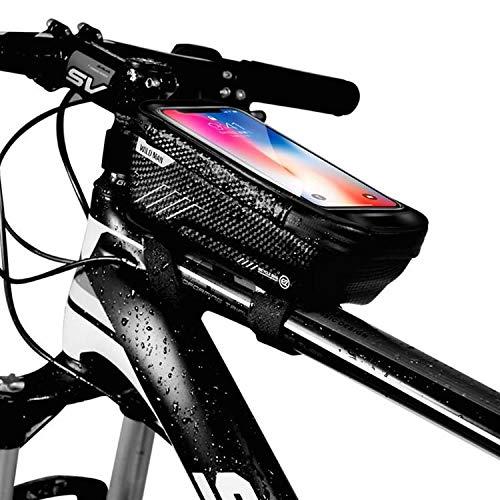 WILDMAN Fahrrad Rahmentasche Handyhalterung ideal fürs Navi - Fahrradtasche mit Kopfhörerloch mit Fingerabdrucksensor-Unterstützung, wasserdicht