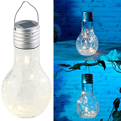 Lunartec Kabellose LED Lampe: Deko-LED-Glühbirne im Crackle-Glas-Design, Solar und Dämmerungs-Sensor (Hängelampen)