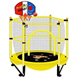 JHSHENGSHI Indoor Small Bounce Bett, Silent Household Kindertrampolin Mit Sicherheitsnetz, Lagergewicht 250kg / Durchmesser 150cm Sport Trampolin Spring Fitness für Zuhause Us