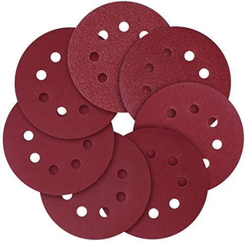 Discos de Lija 125mm, 100PCS de 40, 60, 80, 100, 150, 180, 240, 320, 400, 800 Granos, Papel de Lija Abrasivo con 8 Agujeros, Gancho y Bucle Durable para Lijadora Orbital, Cambio Rápido