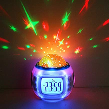 Anself Music Starry Sky Projection Clock Calendar Thermometer