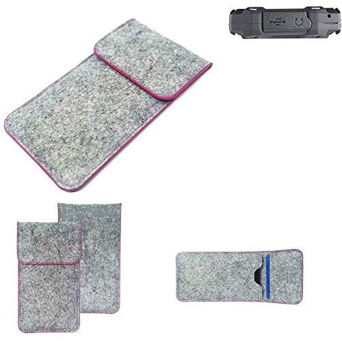 K-S-Trade Handy Schutz Hülle Für Simvalley Mobile SPT-210 Schutzhülle Handyhülle Filztasche Pouch Tasche Hülle Sleeve Filzhülle Hellgrau Pinker Rand