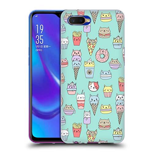 Officiële Andrea Lauren Design Kattenvoer Voedsel Patroon Soft Gel Case Compatibel voor Oppo K1 (2018)