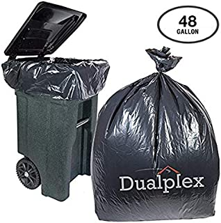 Dualplex 45-48 Gallon Black Trash Bags for Toter 1.5 Mil Garbage Bag 50 Bags Per Case 46