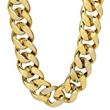 CrazyPiercing Faux Gold Acrylic Chain Necklace, 90s Punk Style Necklace Costume Jewelry, Hip Hop Turnover Chain Necklace, Plastic Width 35mm(36 Inch) Giant Size