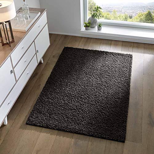 Taracarpet Shaggy Teppich Wohnzimmer Schlafzimmer Kinderzimmer Hochflor Langflor Teppiche modern schwarz 080x150 cm