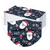 Pany 50 Stück Weihnachten Einmal-Mundschutz für Kinder Atmungsaktive Drucken Mundbedeckung Staubs-chutz, Bandana Face-Mouth Cover Halstuch Schals