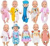 ebuddy 10 juegos de ropa para muñecas que incluyen vestido, bikini, pelele, traje de doctor, traje de noche, diadema y sombrero para muñecas recién nacidas de 43 cm.