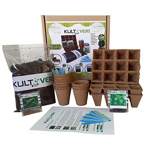 KULTIVERI Set de Cultivo de Plantas Culinarias de 35 Piezas: Macetas y Semilleros de Germinación Biodegradables. Tu Huerto Urbano en la Cocina.
