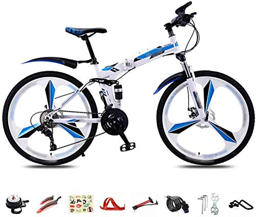 Bicicleta plegable de 26 pulgadas 27 velocidades plegable bicicleta de montaña unisex ligero de cercanías bicicleta de montaña suspensión completa doble disco freno bicicleta-B