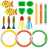 Anpro 16pcs Diving Pool Toys Set, Dive Stick Toys for Kids, Swimming Pools Toys Including 3 pcs Dive Sticks, 3 pcs Dive Rings, 3 pcs Toypedo Bandits, Perfect for Children (Over 5 Years Old)