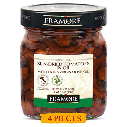 FRAMORE, Sun dried tomatoes in oil ten ounce pack of four Imported from Italy