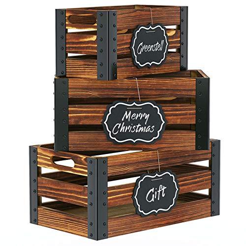 Greenstell Caisses de Rangement en Bois avec Tableau Noir et Poignées Découpées, Boîtes de Rangement en Bois Décoratives rustiques, Lot de 3(Brun)