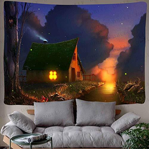 WERT Tapiz de Bosque de Cuento de Hadas tapices de Arte de montaña psicodélico para Colgar en la Pared para Sala de Estar decoración de Dormitorio A7 200x180cm