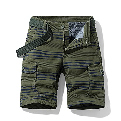 Katenyl Pantalones Cortos Tipo Cargo con Estampado de Rayas para Hombre Costura de Tendencia Ropa de Calle con múltiples Bolsillos Pantalones Cortos Deportivos Regulares de Todo Partido Informales 30