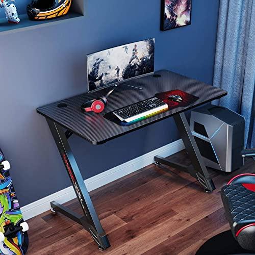 EUREKA ERGONOMIC Escritorio para juegos de 43 pulgadas para el hogar, oficina, ordenador, escritorio, color negro
