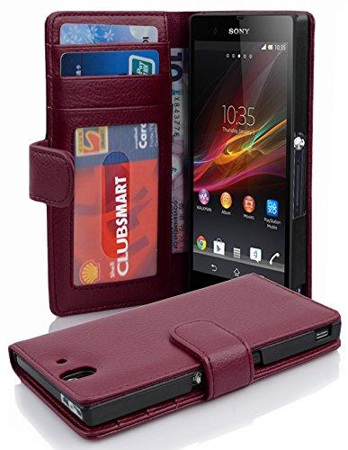 Cadorabo Hülle für Sony Xperia Z - Hülle in Bordeaux LILA – Handyhülle mit 3 Kartenfächern - Case Cover Schutzhülle Etui Tasche Book Klapp Style