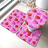 XHYYY - Juego de alfombras de baño antideslizantes, diseño de fresas, color pastel