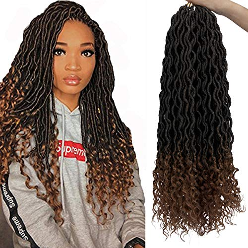 Faux Locs Crochet Hair Deep Wave Braiding Hair With Curly Ends Crochet Goddess Locs Synthetic Braids Hair Extensions (20'-3Packs,#T/27)