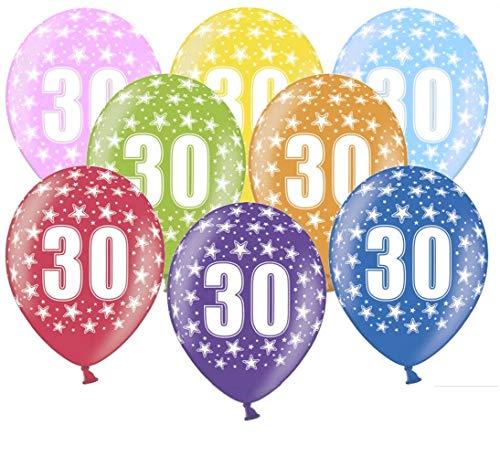 Libetui 10 kunterbunte Luftballons Nummer 30 Metallic 30cm Deko zum 30. Geburtstag 30. Jubiläum Perlenhochzeit Dekoration (Zahl 30)