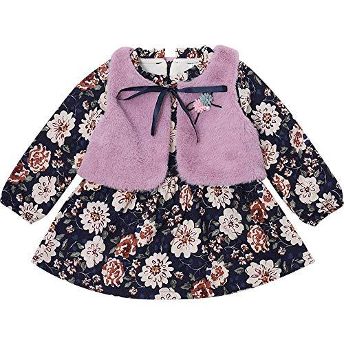 Dziewczynki kwiecista sukienka futrzana kamizelka aksamitna ciepła sukienka zestaw dwuczęściowy spódniczka stroje jesień zima