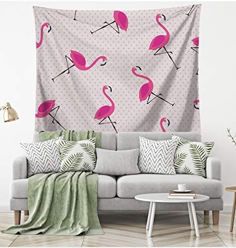 WERT Tapiz de Flamenco Tapiz Colgante de Pared de pájaro decoración Floral para el hogar Toalla de Playa Estera de Yoga Manta de Picnic Mantel A4 200x180cm