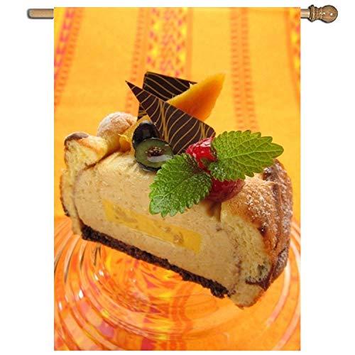 KDU Fashion Outdoor Seasonal vlag, taart op oranje hoofdvlag, aantrekkelijke tuinvlaggen buitenshuis voor hoofddecoratie, ,68.6x94cm