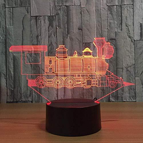 3D Slideshowlocomotief 3D zonnelicht stereoscopisch trein licht acryl 7 kleuren verandering usb slaapkamer nachtlicht creatieve tafellamp