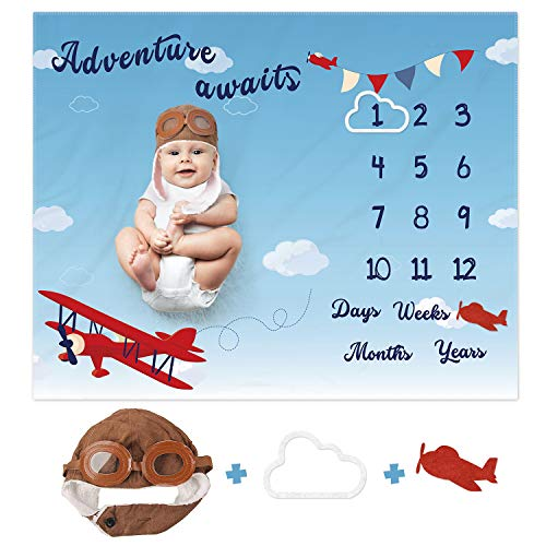 Airplane Monthly Milestone Blanket with Pilot Hat and Picture Frames Aircraft Growth Tracker Calendar Soft Plush Fleece Photography Prop Backdrop Newborn Baby Boy Shower Gift 40' X 50'