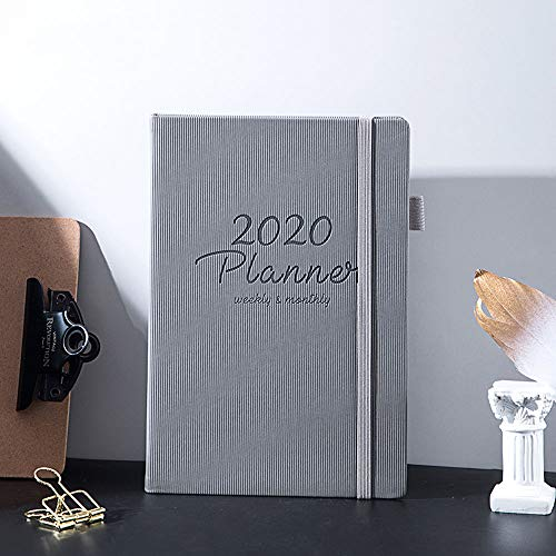 2020 Hardcover Planners Weekly Monthly Calendar Planner Time Management for Mens,Grey