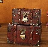 N\C Caja de almacenamiento antigua con cerradura, pequeña caja de joyería multiusos de madera, caja del tesoro, estilo antiguo y retro, decoración de boda