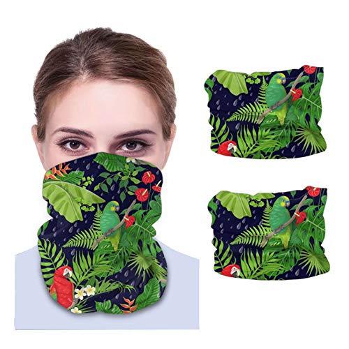 Hecho con hojas de pájaros tropicales, diadema de Amazon, bandanas, escudo para la cara, pañuelo para la cabeza, máscara, pasamontañas, polaina para el cuello, 2 piezas