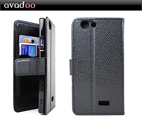 avadoo® Medion Life E5005 Flip Case Cover Tasche Schwarz mit Magnetverschluss & Dualnaht als Cover Tasche Hülle
