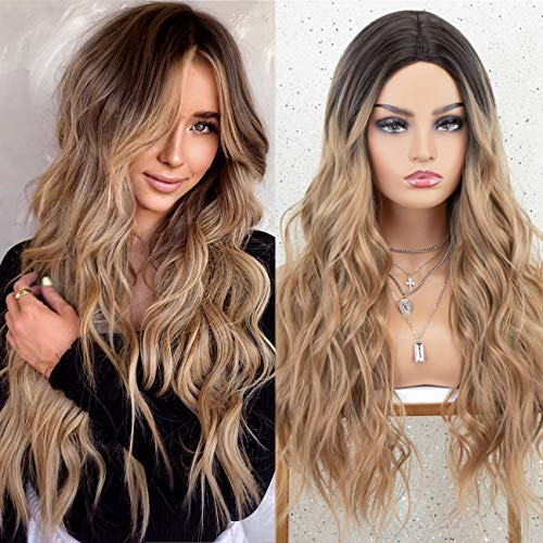 K'ryssma Dirty Blonde Wig with Dark Roots Ombre Long Wavy Synthetic Wig for Women 22 inch