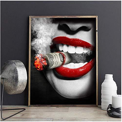 IGZAKER Zeichnung Big Sexy Lippenstift Frauen Zigarette Kunst Malerei Poster Wandbilder Für...