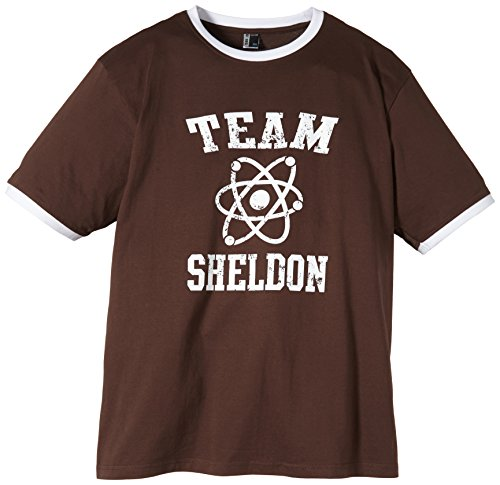 Coole-Fun-T-Shirts T-Shirt Team Sheldon - Big Bang Theory ! Vintage Ringer, braun, XL, 10746_braun_RINGER_GR.XL