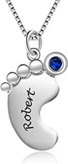 Best Personalized Necklace for Mother 1- 4 Custom Baby Feet Pendant Necklace for Mom with Simulated Birthstone Free Engraving Baby Name or Date Review