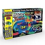 Ontel Products Magic Tracks Mega Super Pack Bonus Set, 3 Led Race Cars, 24' Flexible, Glow in The Dark Racetrack, Multicolored