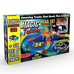 BONUS SET: INCLUDES 3rd CAR!: & eight feet of extra track. CAR TRACK SET: This glow in the dark race track gets kids excited for night time play! It bends & flexes as the LED Racecar zooms around the buildable, 24 foot track. RACETRACK TOY SET: featu...