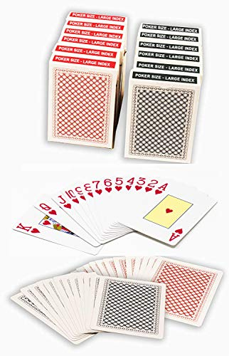 ChipsAndGames Value Pack of 12 Decks of Paper Playing Cards with Plastic Coating, 6 Red and 6 Blue Decks.