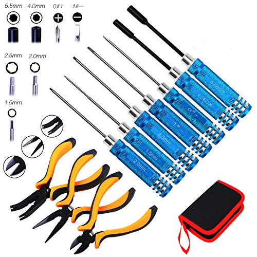RC Tools Kits Box - 10pcs Screwdriver Kit Hex Nut Driver Set Wrench Key Repair Tools Kits Driver...