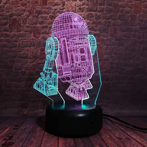 3D Night Light Space War Robot Illusion Lamp 7 Colores Cambio De Control Remoto Touch Usb & Amp;Lámpara Decorativa De Juguete Con Pilas Para Regalos De Niños Niñas