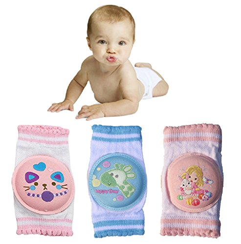 VEVELE Baby Cartoon Kneepads with Sponge for Crawling 3 Pairs, Cotton Soft Little Leg Warmers, Safety Protect Knee and Elbow Against Hard Floors and Carpets