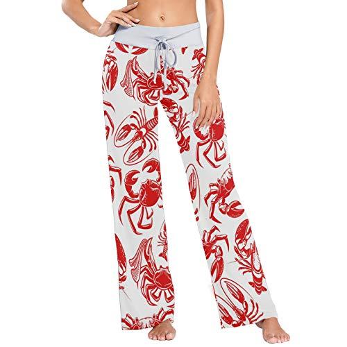 Pantalones de Pijama de Mujer, Pantalones de Yoga, Leggings Inferiores, Pantalones de salón de Cintura Alta, mariscos Cangrejo Langosta patrón sin Costuras Rojo